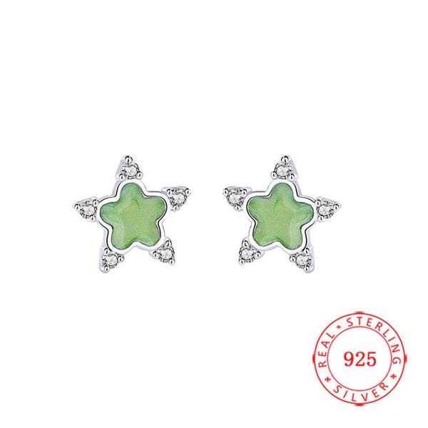 joyería de circonio caliente de alta calidad pendientes diseño de la estrella de la CZ 925 aretes de plata de ley estrella al por mayor de 925 nueva york plata