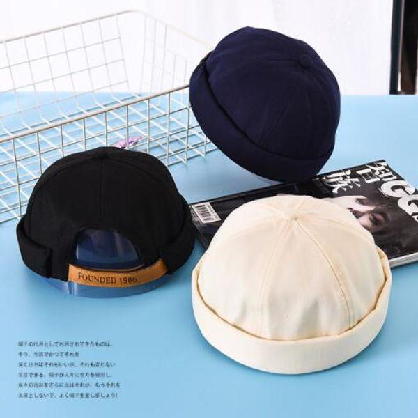 Landlord cap auyunm winter cap pumpkin hat kind of cotton and linen tide navy cap retro sailor no brim flanging course wholesale