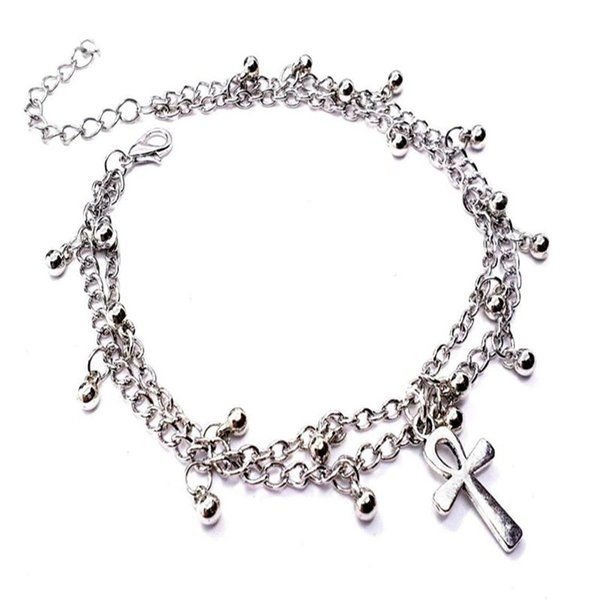 Ankh Cross Ankle Bracelet Gothic For Women Jewelry Vintage Silver Double Chain Foot Dancing Foot Beach Bracelet Boho Ethnic Bangle