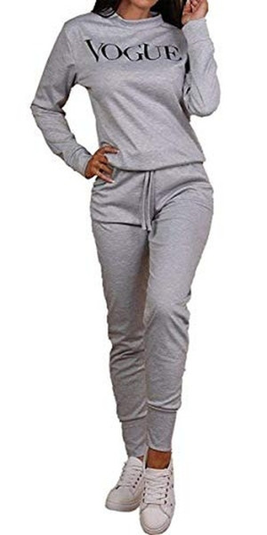 Ladies Slogan Vogue Print Top Bottoms Lounge Wear Suit Tracksuit 2Pcs Set Co-Ord