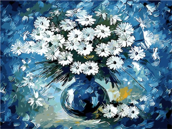 16x20 inches White Daisy in Blue Vase Blooming DIY Paint By Numbers Kits On Canvas Art Acrylic Oil Painting