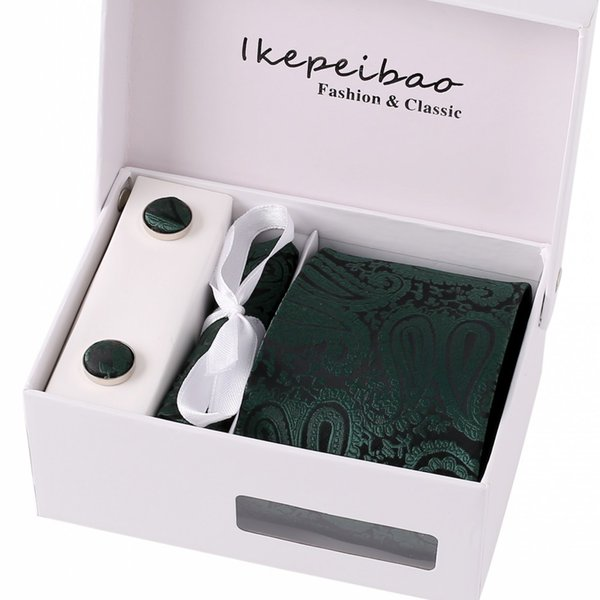 Ikepeibao Cooling Formal DK Green Paisley Wide Quality Ties Cuff link Hankie Clips Sets Jacquard Woven Handmade Ties Men