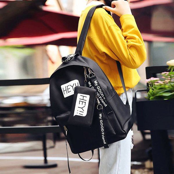 2018 Backpack Women School Bags For Teenagers boy girl Canvas Letter Travel Backpack Student Bags Mochilas Escolares
