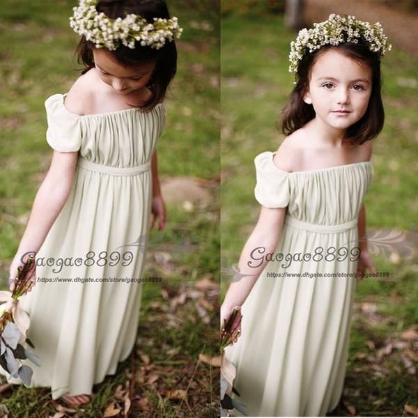 2019 Boho beach Flower Girls Abiti da sposa Manica corta da principessa floor-lunghezza Chiffon paese bohemian Abiti da bambina