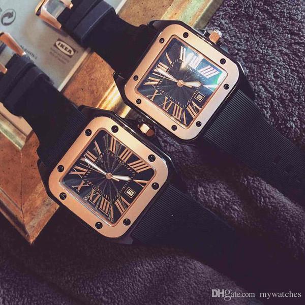Venda quente de qualidade elástico Homens Mulheres Moda Relógio de Luxo Relógio de Marca de Designers de Luxo Tanque Casual Vestido de Casal Relógio de Presente de Quartzo Relógio