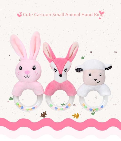 Baby Handbell Hand Ring Cute Creative Cartoon Rabbit Fox Sheep Plush Toy For Newborn Infant Early Educational Toys LJJS96