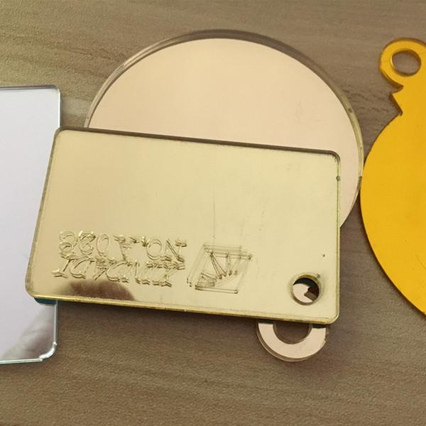 30 pçs / lote acrílico espelhos de ouro rodada D300x3mm personalizado forma arbitrária PMMA plástico plexiglass lente decorativa de casa