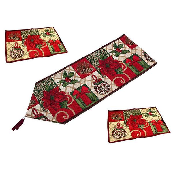 Decorativo de Navidad Camino de mesa y manteles, Día de Acción de Gracias Navidad de la flor de poliéster suave Tabla Runner Cloth Inicio Weddi