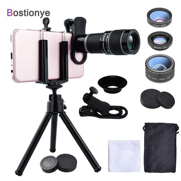 Bostionye 20X Telephoto Lens 6in1 Fisheye wide angle Macro Camera Lens Mobile Zoom telescope Phones General clamp With tripod