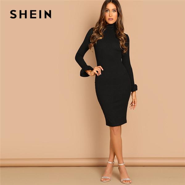 554b1391be31 SHEIN Black Flounce Sleeve Pencil Knee Length High Neck Bodycon Plain Dress  Casual Elegant Women Autumn