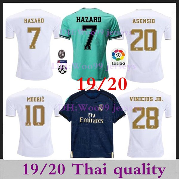 2019 Real Madrid Soccer Maglie HAZARD 7 camiseta de fútbol 19/20 Home Kit MODRIC MARCELO 2020 KROOS ISCO BALE T-shirt bambini calcio