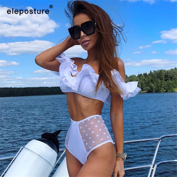 Fashion-Sexy Bikinis 2019 New Black White Lace Bikini Set High Waist Swimsuit Women Ruffle Swimwear Push Up Bathing Suit Beach Wear Swim