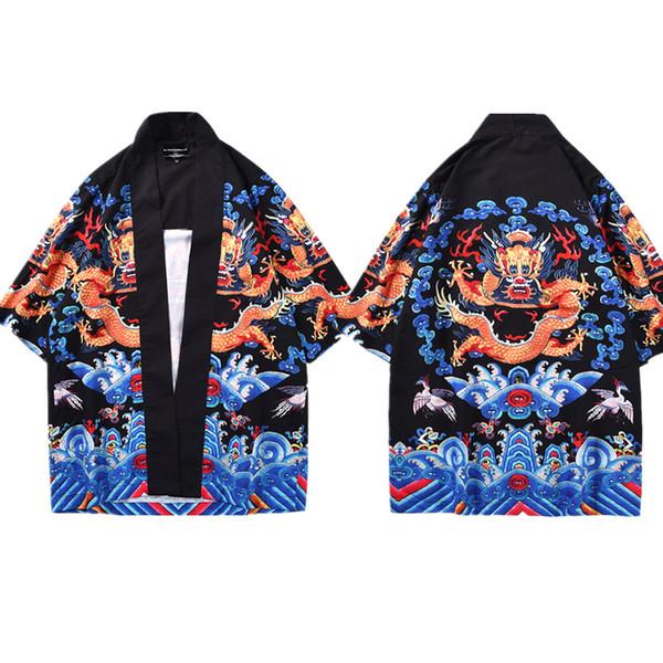 Mr.1991INC Kimono Cardigan Uomo Camicia tradizionale cinese Kimono Giappone Estate Moda Abbigliamento Stampato Drago cinese