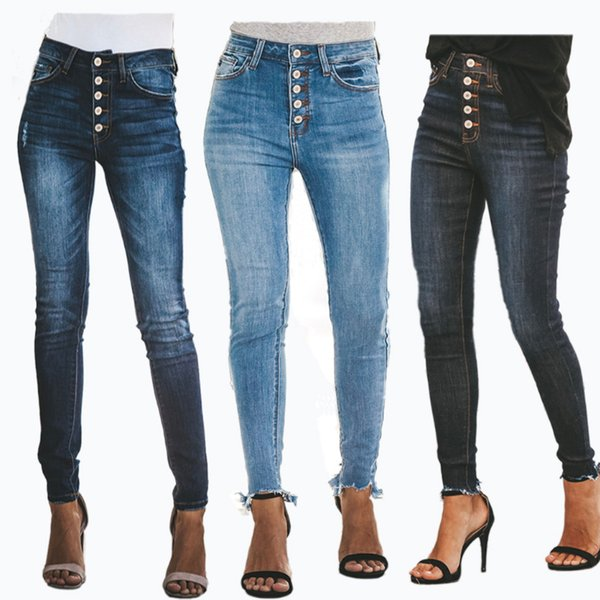 Nuevo modelo 2019 mujer jean pantalón moda mujer pantalones vaqueros de talle alto pantalón de mezclilla de primavera con pantalones de agujero flaco pantalones de botón para mujer