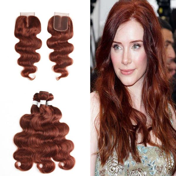 Brazilain Body Wave Hair 3Bundles Con Cierre de Cordón 4 Unids / lote Cuerpo Marrón Mediano Trama de Pelo Ondulado Con Cierre 4x4