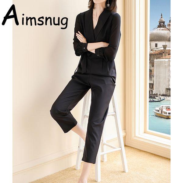 2019 New Plain Black blue Office Ladies Workwear Jumpsuit Wrap Lace Detail Tailored Long Sleeve Pockets Women Elegant Jumpsuit