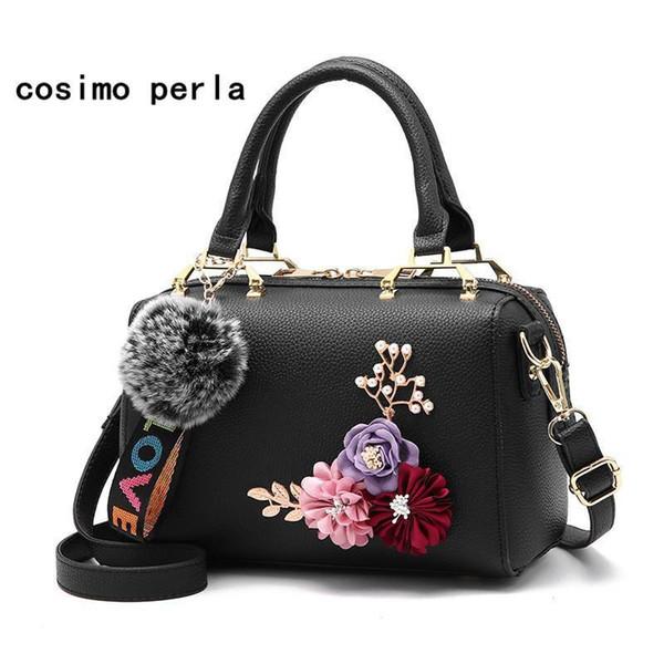 2D Flower Handbags For Women Boston Shoulder Tote Bags With Fur Ball Girls Fashion Luxury Lady Crossbody Messenger Bags Nice