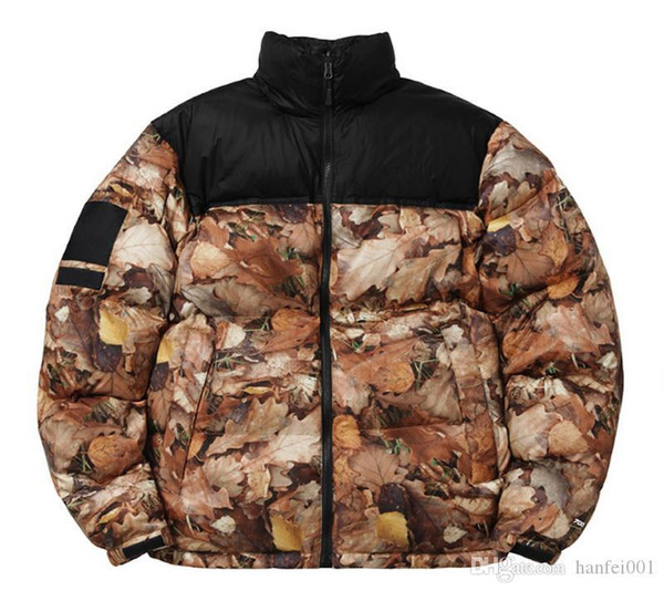 fast shipping SP Down jacket Deciduous leaves Print Nuptse Coats Couple coat Winter Outerwear Fashion S~XL HFYRF002