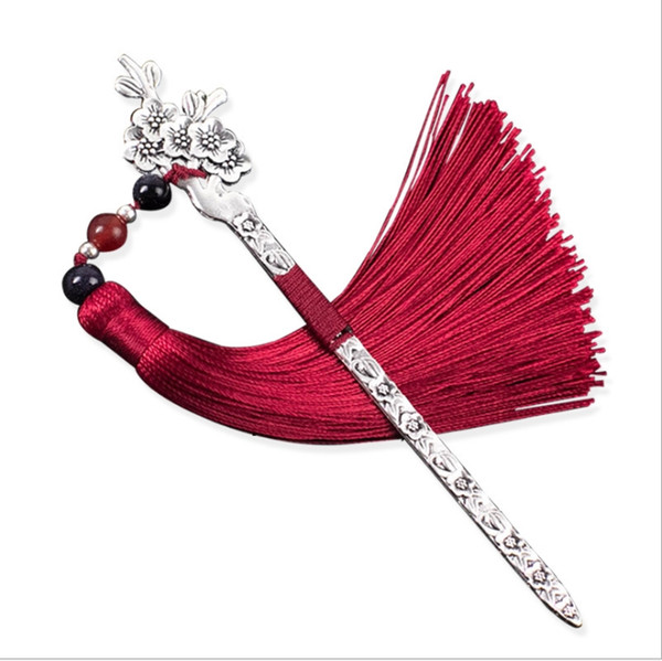 best selling Chinese style classical tassel metal bookmark novelty creative student stationery handmade retro cute antique small gift