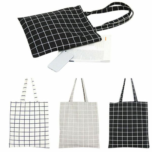 여성 가방 코튼 리넨 쇼핑 가방 패션 격자 무늬 어깨 핸드백 에코 쇼핑 가방 파우치 뉴 / BY
