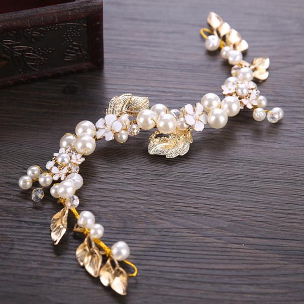 AiliBride Gold Pearl Повязка для свадьбы тиары Свадебных аксессуаров для волос Handmade Женщин Bride украшения для волос ювелирного изделий