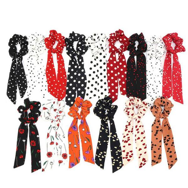 20 teile / los Böhmische Tupfen Floral Bedruckte Band Bogen Haargummis Frauen Elastisches Haarband Schal Seil Krawatten Mädchen Haarschmuck