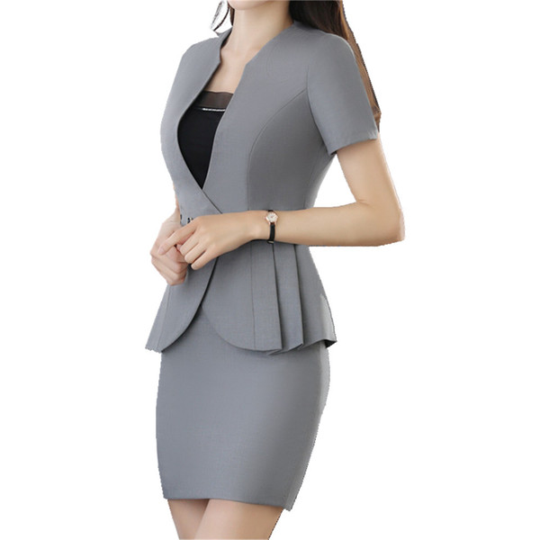 2019 Women Plus Business Suit Summer Short Sleeve Ruffle Blazer Grey and Grey OL Skirt 2 Pcs Career Suits for Women
