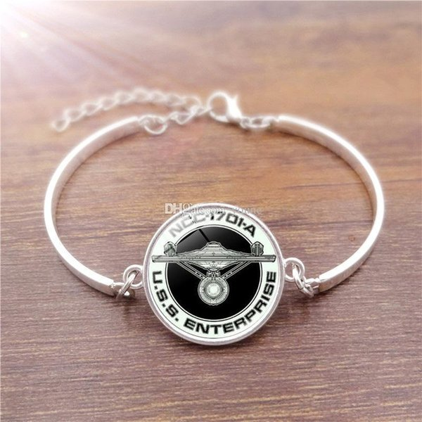 Famous Brand Jewelry with Silver Plated Glass Cabochon Star Trek Pattern Charm Bracelet Bangle for Women Party Gift 5PCS