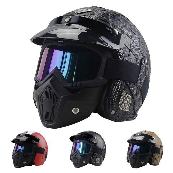best selling PU Leather Motorcycle Helmets Chopper Bike Half Helmet Open Face Vintage Motorcycle Goggle Mask ATV Moto Helmets Casque Motocross