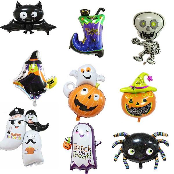12 стилей Halloween Party Supplies Halloween Воздушные шары привидения черепа Witch Cat Загрузочный паук Хэллоуин украшения Фольга шар DHL