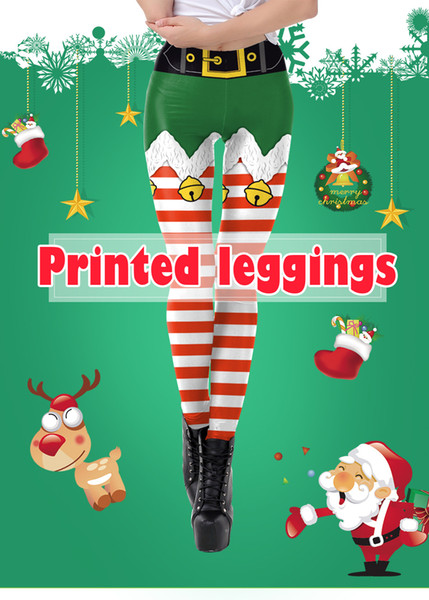Free shipping New women's Christmas costume red and white striped print tight mid-rise leggings