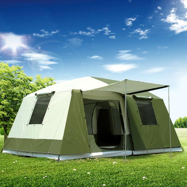 Alta qualidade 10Pessoas dupla camada 2 salas 1 grande grande barracas de acampamento ao ar livre da família grande espaço à prova d 'água barraca de acampamento