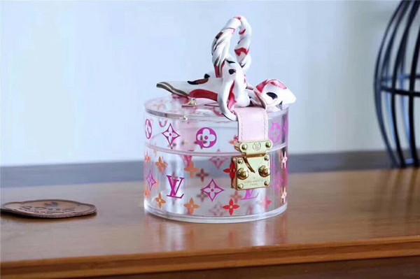 2019 en iyi tasarımcı muhteşem çanta kutusu MS yüksek kalite en lüks Şeffaf Pleksiglas deri Takı takı Makyaj cilt Saklama Kutusu