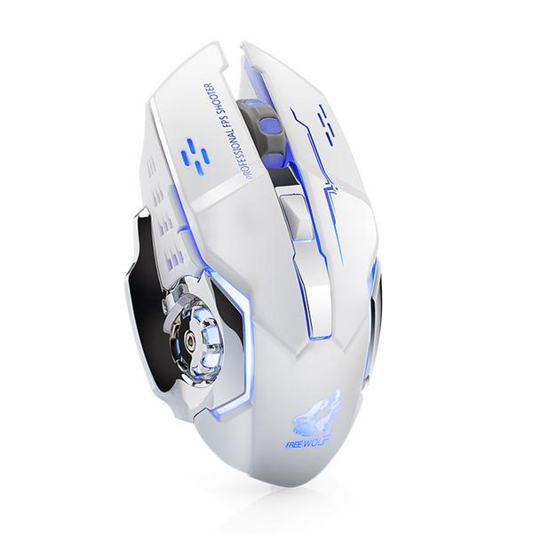 Kostenlose Wolf X8 Wireless-Aufladespielmaus stumm leuchtende mechanische MausUSB verdrahtete Mäuse für Pro Gamer Computer X8-Maus