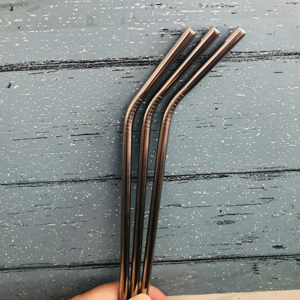 215/267*6mm Silver 304 Stainless Steel Straw Bent And Straight Reusable Straw Drinking Straws Party Wedding Bar Drinking Tools