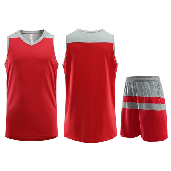 Best Selling Customized Training Sportswear Basketball Jersey Red Running Jogging Men Women Striped Trendy Clothing Suit Plus Size 5XL