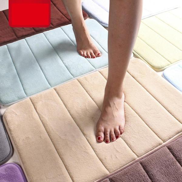 Non-slip Toilet Floor Shaggy Bath Mat Coral Foam Non-Slip Back Rug Soft Bathroom Carpet Memory Foam Bath Mat for Bathroom Decor