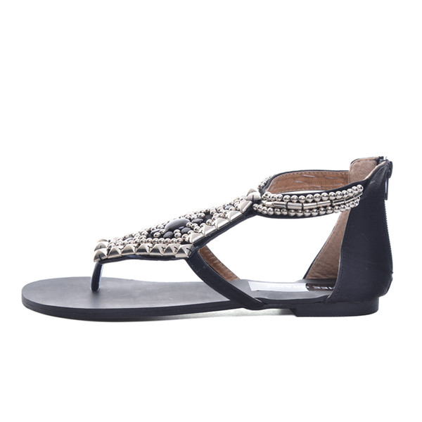 Platform Gladiator Sandals Summer Bohemia Flip Flops 2019 Beaded Shoes Woman Vinatge Rhinestone Zip Flats XWZ2163