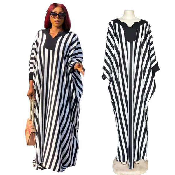 Free Ship New Women Fashion V-neck Striped Long Dress Ladies Casual Loose Maxi Dress Cocktail Party Wear Onesize