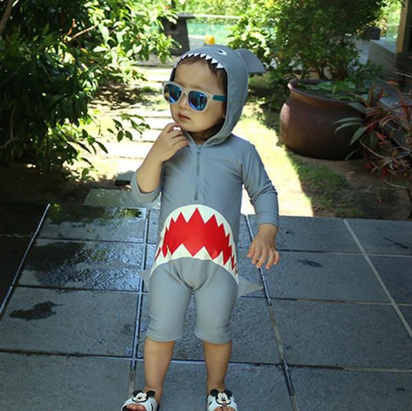 2019 bebés varones Shark Hooded diseñador trajes de baño dibujos animados Corea niños lindos trajes de baño diseñador traje de baño Ropa de niñas Niños Playa Deporte desgaste