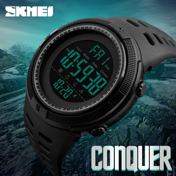 New Fashion Luxury Sport Watch Men Digital LED Waterproof Outdoor Dress Watches Chrono Countdown Dual Time Wristwatches