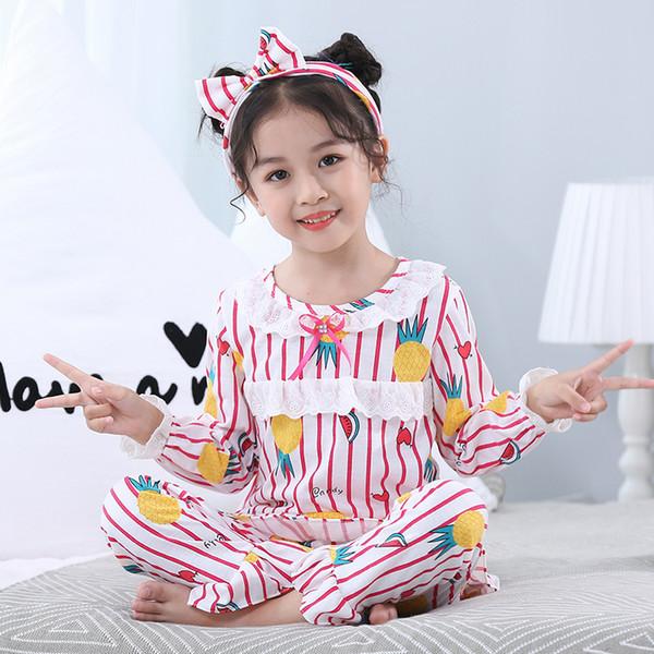 Spitzenkragen Homewear Rot und Weiß Streifen Tops + Pants + Stirnband 3 Stück Sets Mädchen Nachtwäsche Pyjamas Nachthemd Anzug Kinder