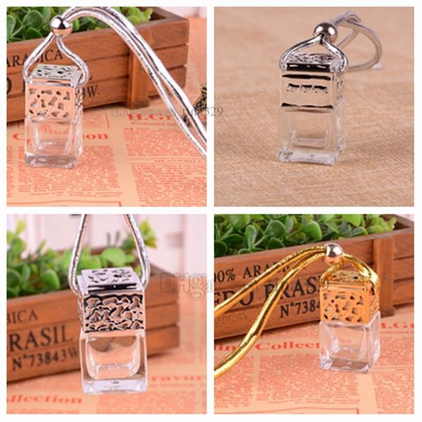 Nuevo portátil 6ML botella de cristal mini botella de perfume botella de vidrio de color grueso 4 color ACEITE ESENCIAL embotellado colgante decoración del hogar T2I5077