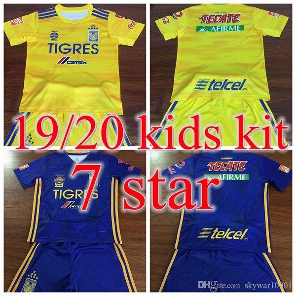 2019 Tigres KIDS KIT Soccer Jerseys HOME VALENCIA AWAY 2020 VARGAS GIGNAC 10 DAMIAN 11 PIZARRO 19 20 Jersey CHILD BOY 7 STAR Football shirt