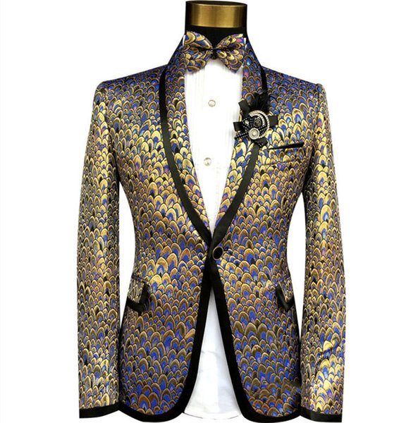 (jacket+pants+bow tie)male suit print casual singer dancer show DS dance costumes outerwear coat DJ jazz nightclub performance stage prom