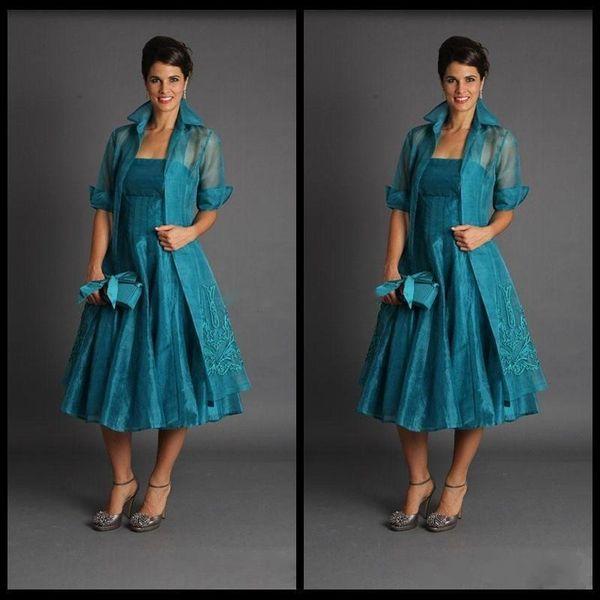 Teal Organza Mother of Bride Tea Length Wedding Dresses with Long Jacket Elegant Women Formal Long Party Dresses 2019