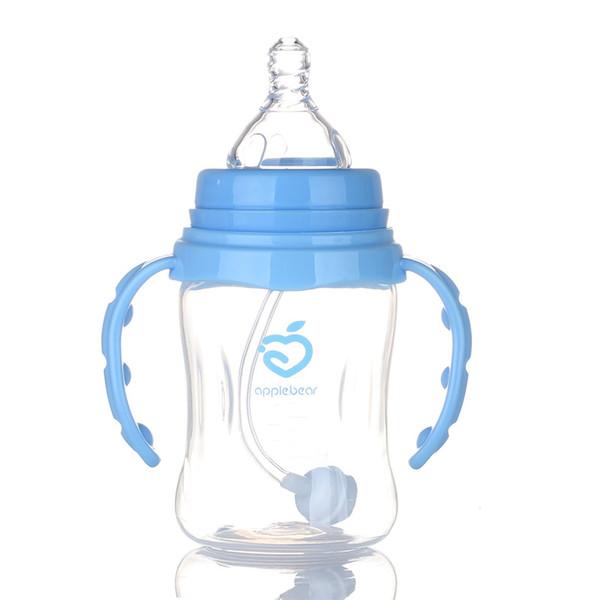 210ml bébé enfants tasse mignonne enfants apprendre la formation alimentation boisson eau paille poignée bouteille école potable nourriture bouteilles de lait
