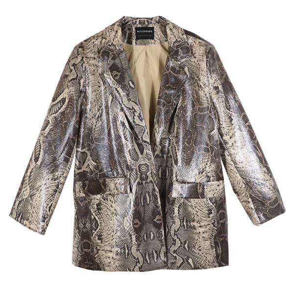Veste en cuir d'unité centrale à motif serpent gris Veste en cuir rétro Veste à motif léopard surdimensionnée en cuir avec doublure wq2593