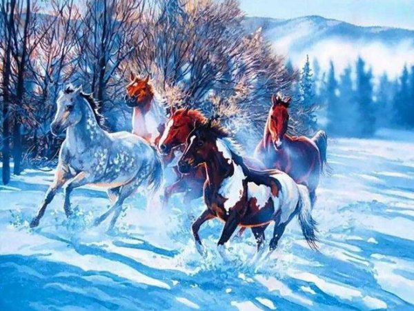 Blue Snow Running Horse DIY Painting By Numbers Drawing By Painting Kits Painting Hand Painted On Canvas For Home Wall Art Picture Poster