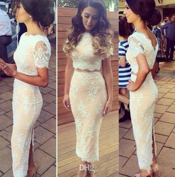 Two Pieces Lace Short Prom Dresses With Sleeves Sexy Back Slit Formal Evening Gowns Sheath Tea Length Vestidos de fiesta largos Party Dress